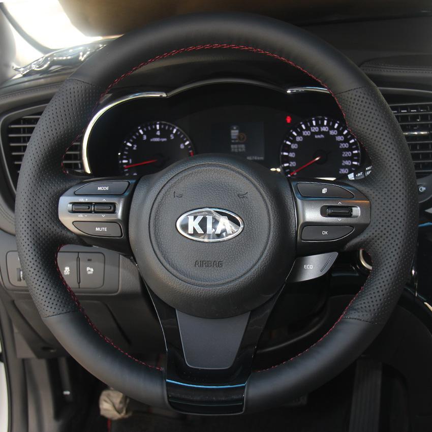 KIA K5 2014 için yeni model Direksiyon simidi kapağı Hakiki deri DIY El-dikiş Araba tasarım Iç dekorasyon Araba deri aksesuarları