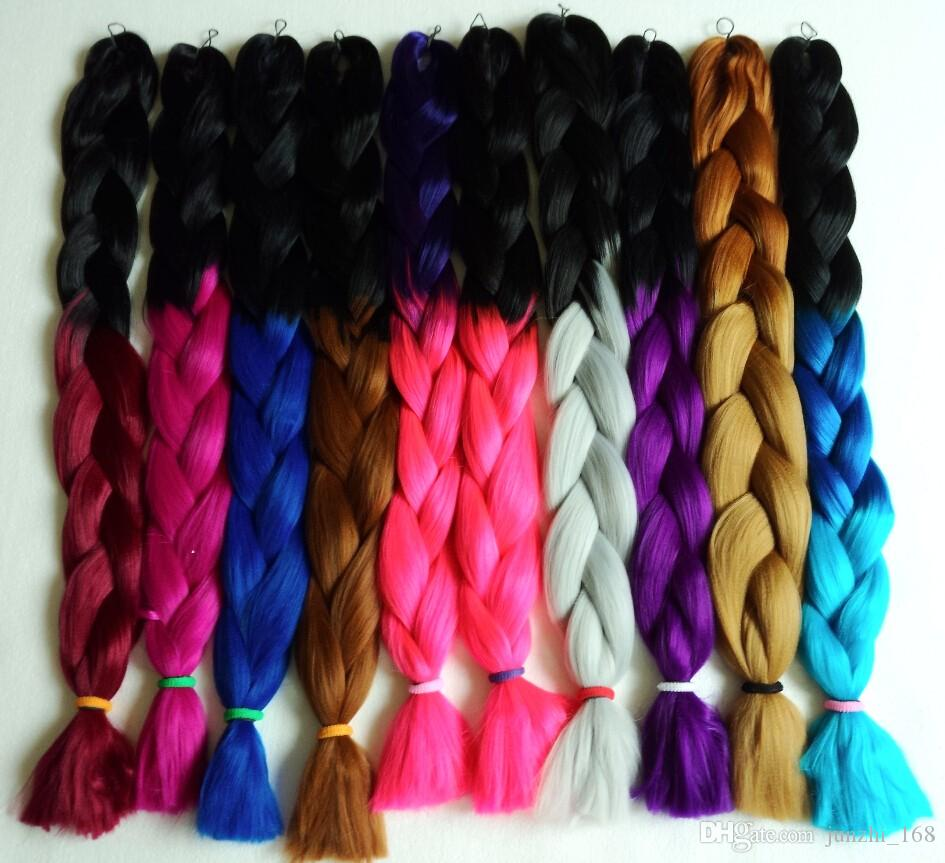 Colorful Super X Pression Jumbo Braiding Hair Ombre Synthetic Hair  Highlight Braids Hair Braid Hair 165g 82cm Bulk Synthetic Hair Cheap Bulk  Hair From