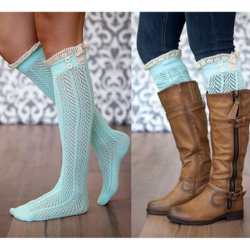Ницца кружева Trim Knee высокие ботинки носки женщин хлопок knit ноги теплые 20pairs / lot Бесплатная доставка
