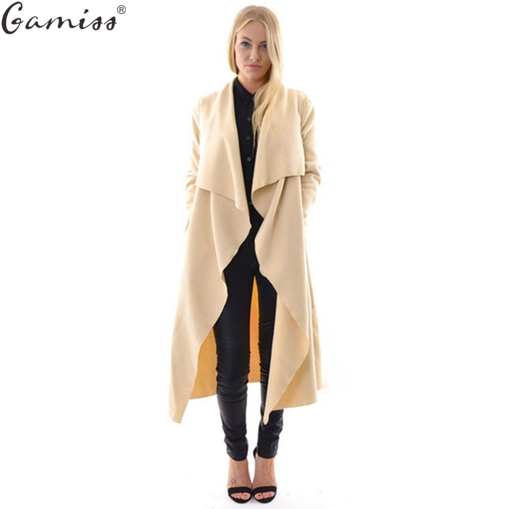 Wholesale- GAMISS autumn coat women casual loose wide lapel wool blend oversize coat trench long Outerwear loose clothing femme casaco