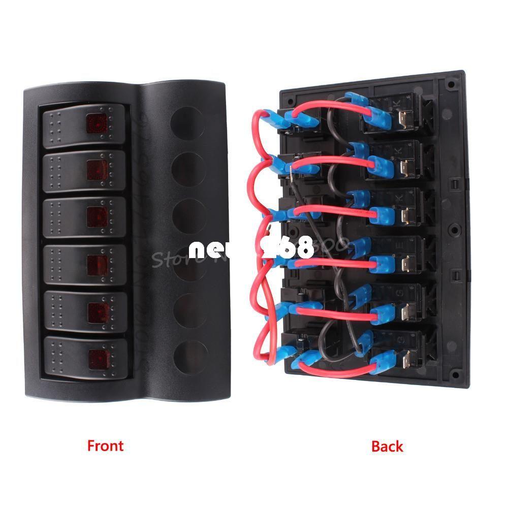 Painel de interruptor de controle da caravana da ponte de barco do grupo 6 com o disjuntor vermelho 12V 24V do balancim do diodo emissor de luz