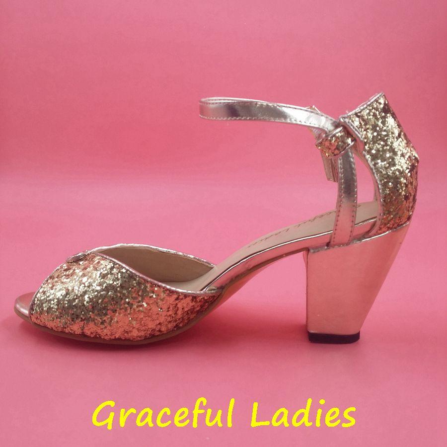 34208a134 Fashion Gold/Black Glitter Wedding Shoes Sequins Bridal Shoes Ankle Straps  Women Sandals Chunky Heel Large Size Sandal 3.5