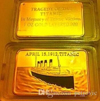 2 pcs/lot A true love story Titanic 1912 Rose and Jack Russia gold plated bullion bar souvenir coin. Free shipping