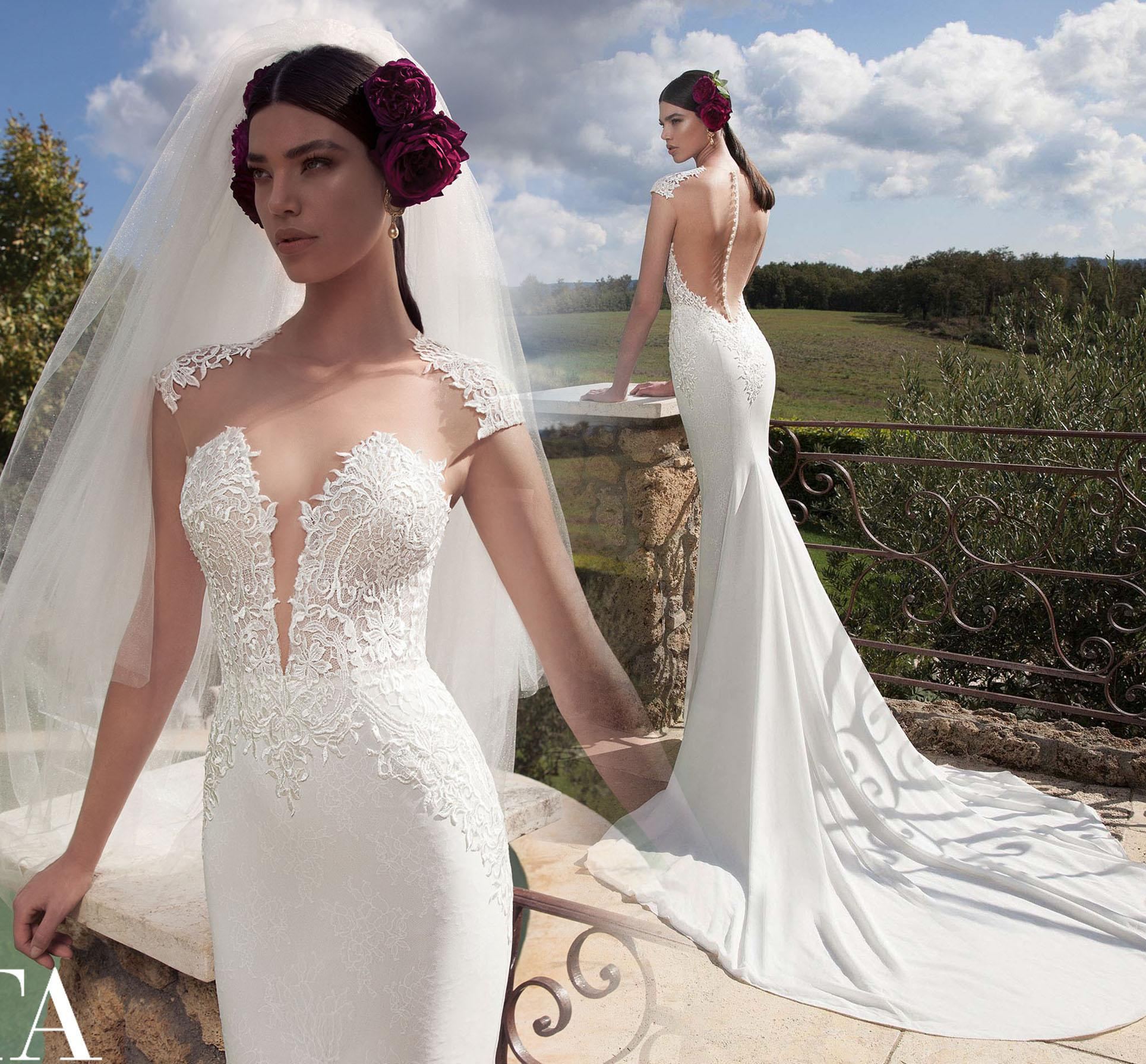 2015 Sexy Beach Wedding Dresses Mermaid With Cap Sleeves See Through Sweep Train Split Side Lace