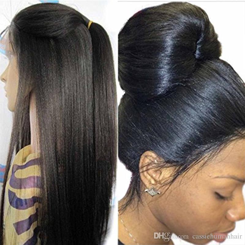 130 밀도 이탈리아어 야키 전체 레이스 흑인 여성을위한 인간의 머리카락 가발 브라질의 머리카락없는 빛 야키 스트레이트 레이스 앞머리 가발