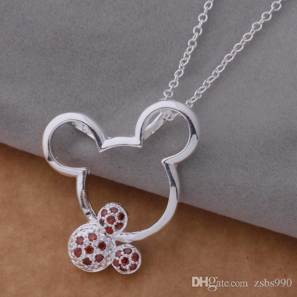 La collana di marca di vendita con il mouse sveglio dell'argento sterlina 925 zircone è il miglior regalo per le ragazze spedizione gratuita di alta qualità