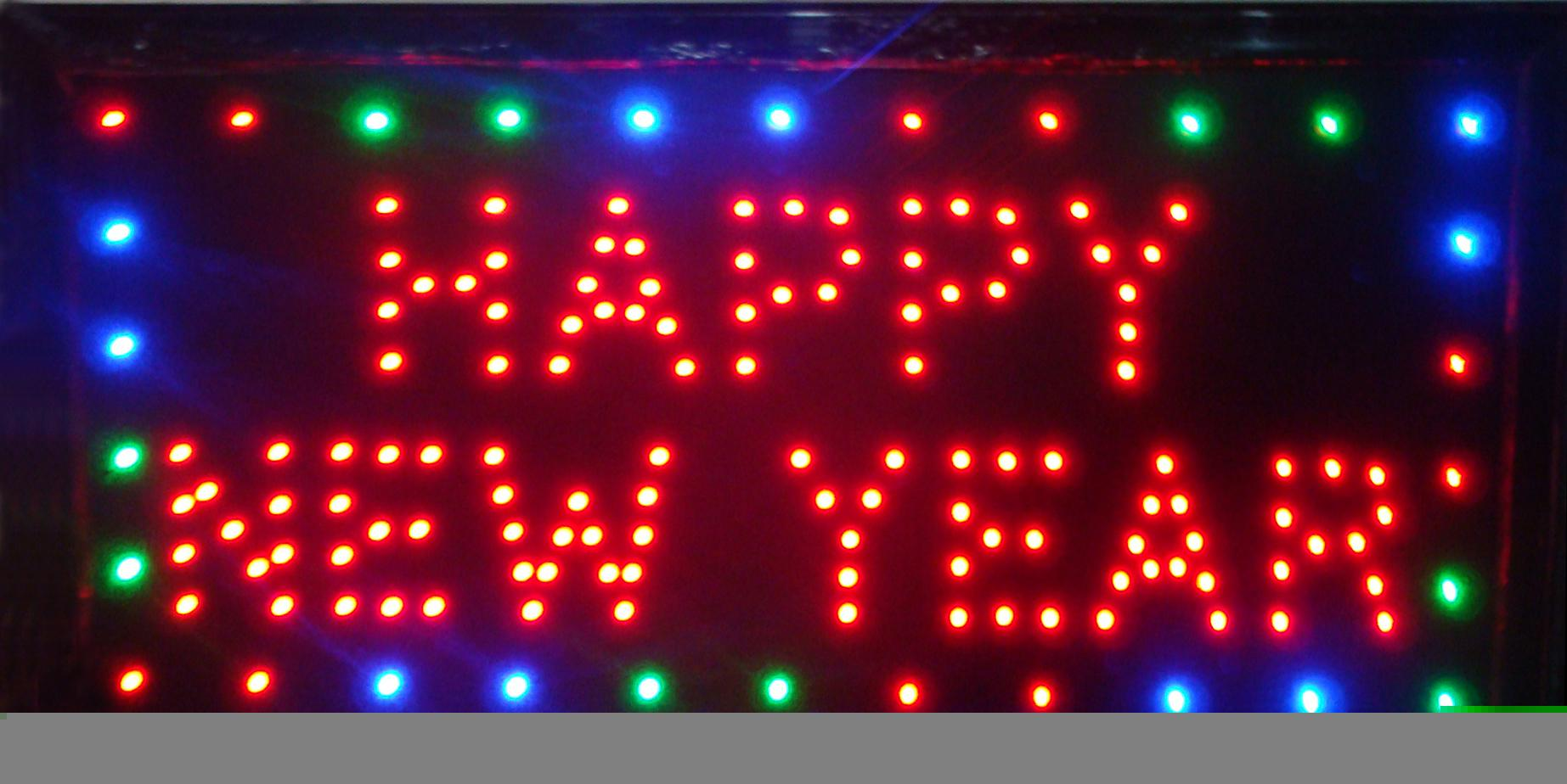 "Hot selling customerized Animated LED HAPPY NEW YEAR SIGN BILLBOARD 19x10"" Led Neon sign lighted advertising sign"