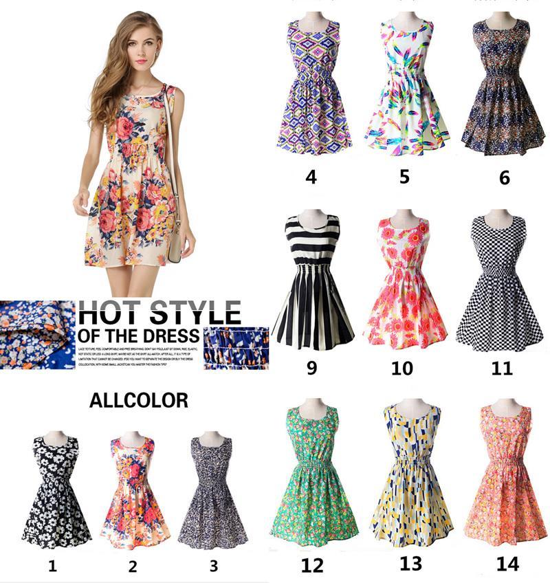 도매 여름 꽃 인쇄 여성 의류 소녀 옷 민소매 드레스 패션 숙녀 드레스 캐주얼 드레스 207