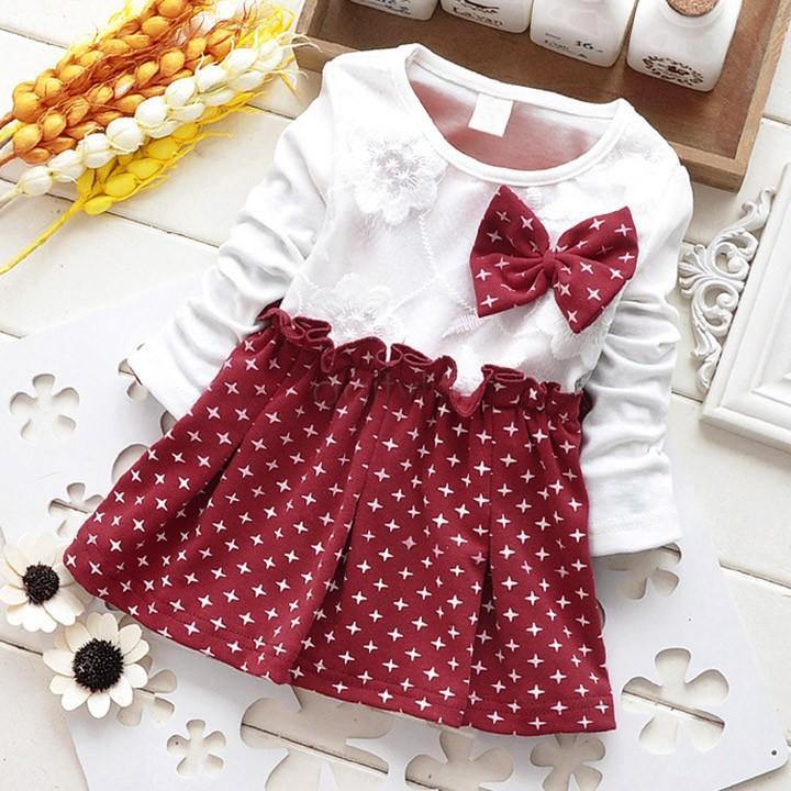 2016 2015 Newborn Baby Girl Winter Party Dress Cute Star Long ...