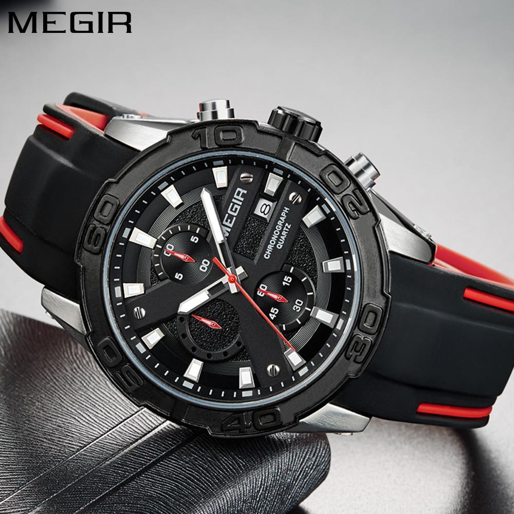 브랜드 남자 패션 실리콘 스트랩 스포츠 시계 방수 크로노 그래프 쿼츠 시계 남자 군사 시계 Relogio Masculino
