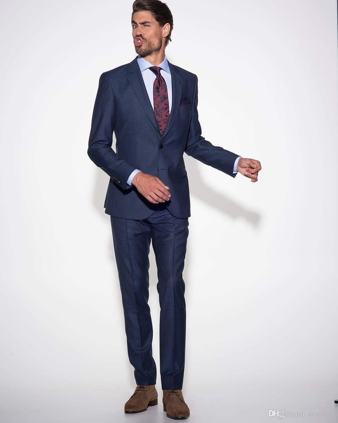 De haute qualité 2 pièce bleu foncé hommes costume dernier manteau pantalon conçoit costumes de mariage slim fit pour hommes