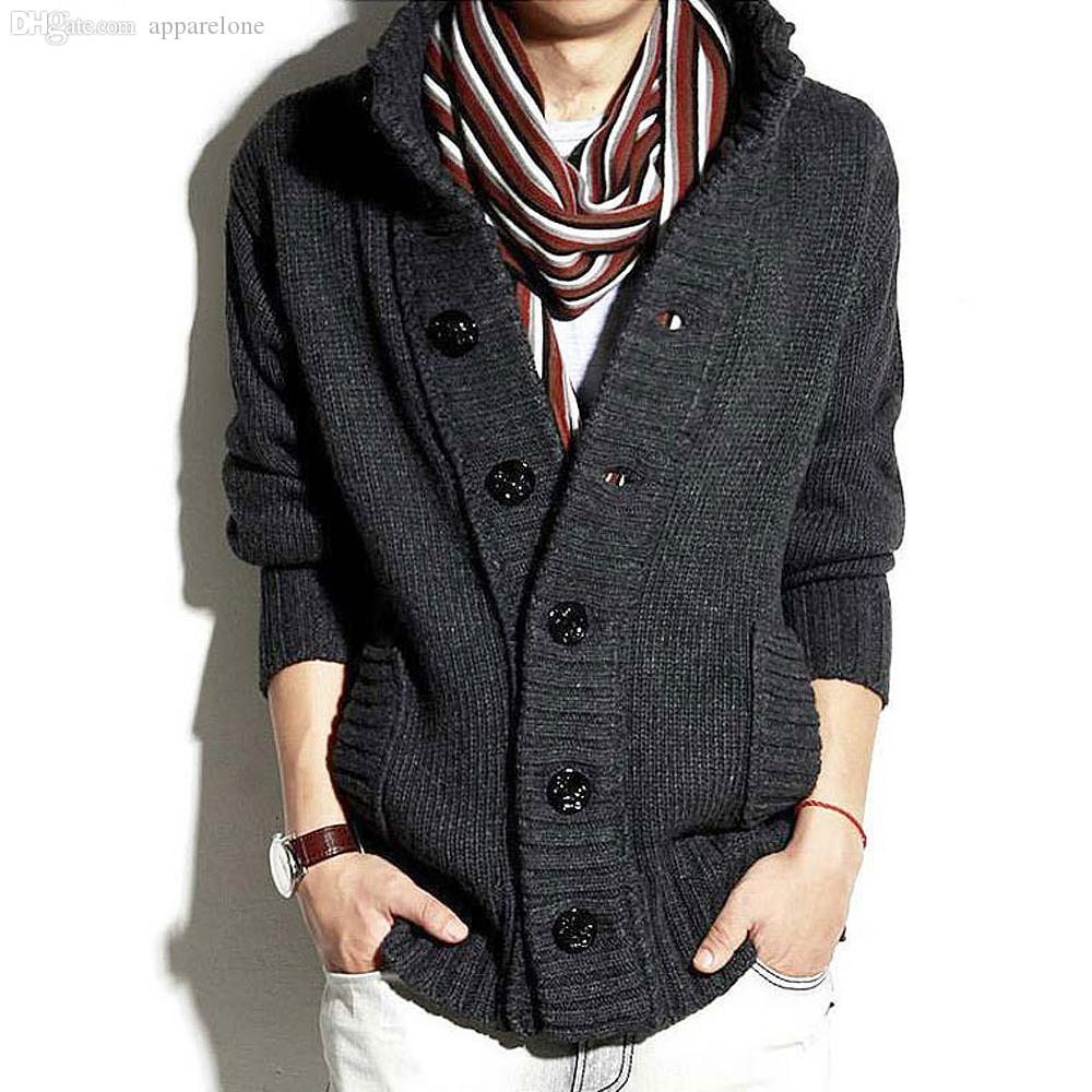 Atacado-Free shipping camisola de caxemira suéter grosso cardigan para homens casaco de inverno mais grosso homens jaquetas S M L XL XXL C170