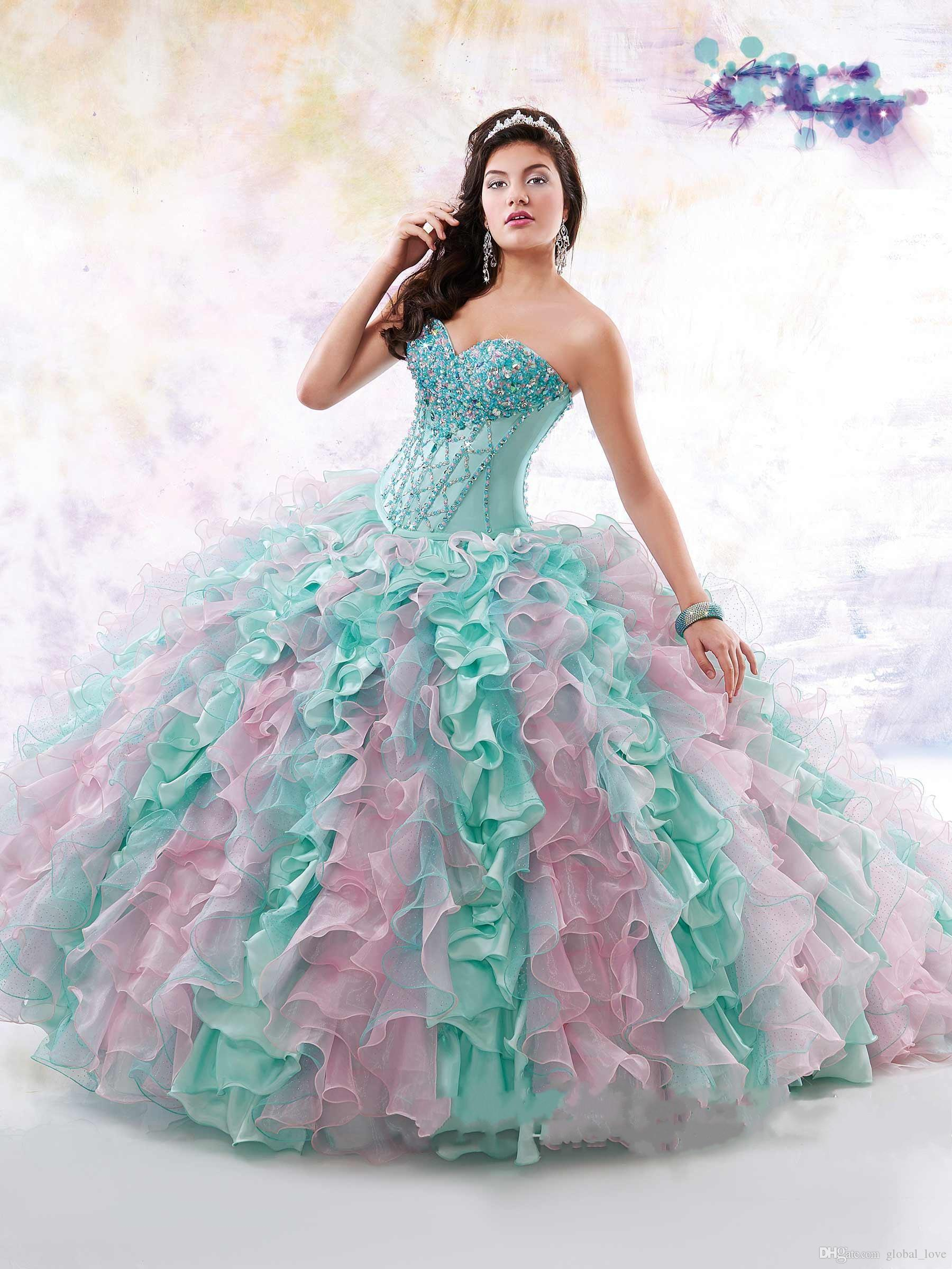 2016 Quinceanera Dresses Mint Pink Mix Colors Formal Girl\'s Pageant ...