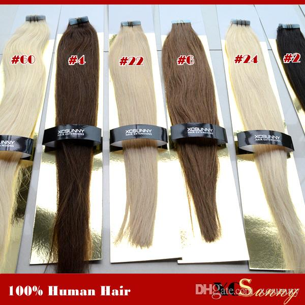 XCSUNNY Malaysian Virgin Human Tape Haarverlängerungen 40 Stücke Band Haar Gerade 100g Menschenhaarband In Extensions