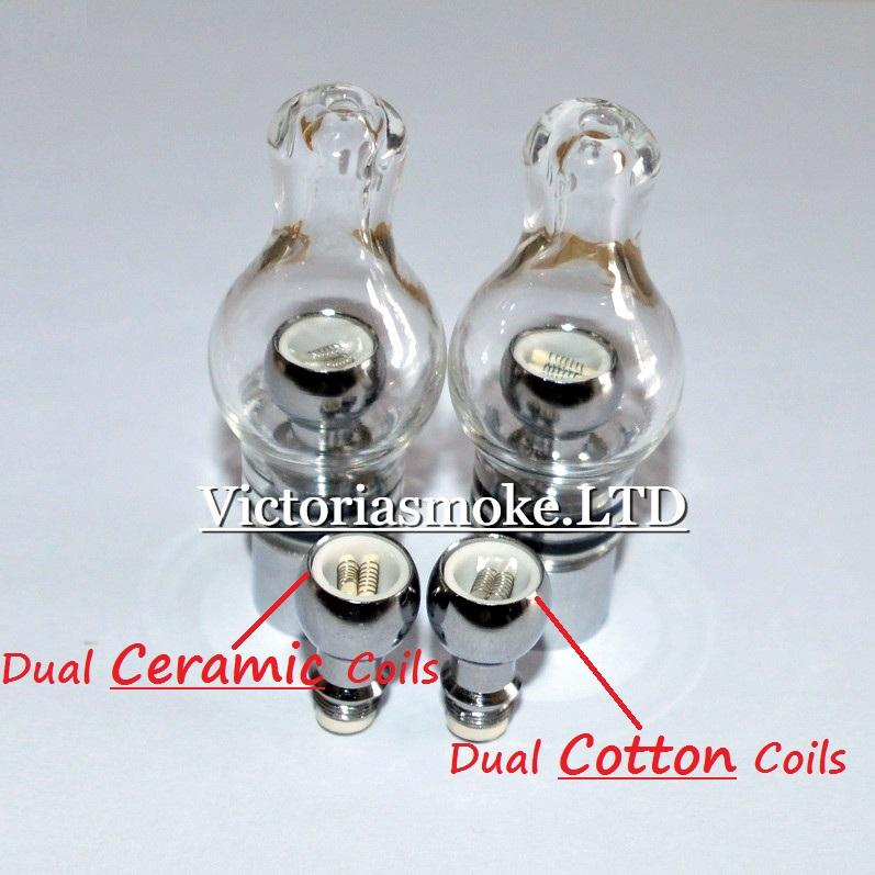 Newest Glass Globe Atomizer Wax And Herb Vaporizer Dual coil Replacement Ceramic Cotton Coils Glass Atomizer Wax Glass Aomizer eCigs Atomize