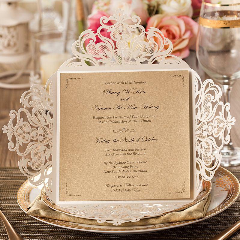 Laser gesneden bruiloft uitnodigingen gouden papier gratis afdrukken uitnodigingskaart voor verjaardag bloemen bruiloft kaarten feesttoevoer elegante CW519_WH