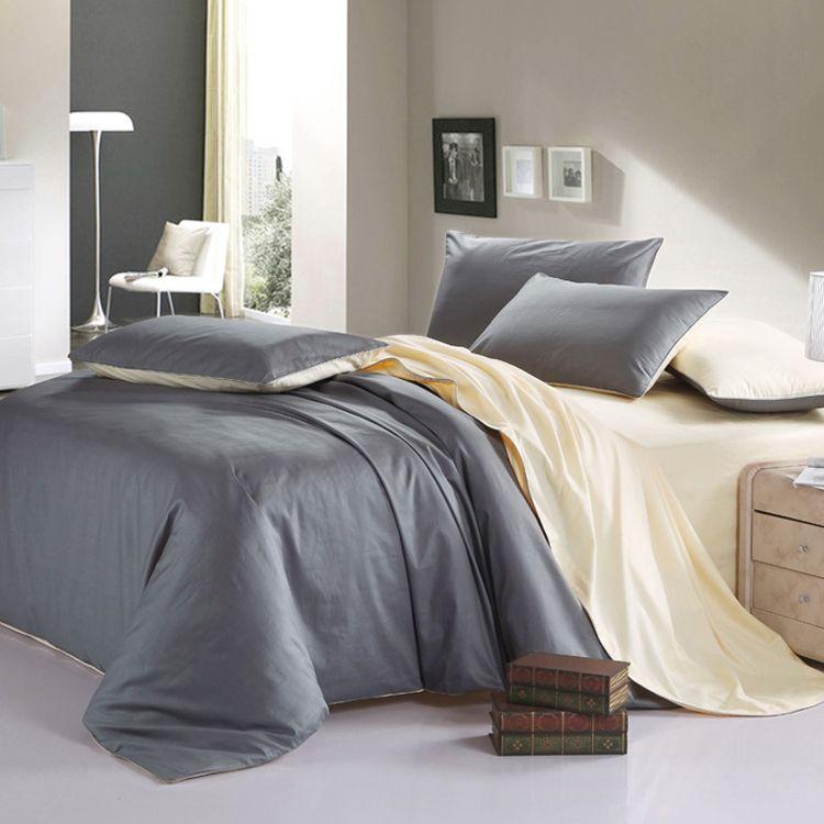 Al por mayor-ROMORUS 100% algodón sano Full / King / Super King Size Juego de cama de diseñador de color puro Pure Modern Simple Duvet Cover Sets 4 piezas