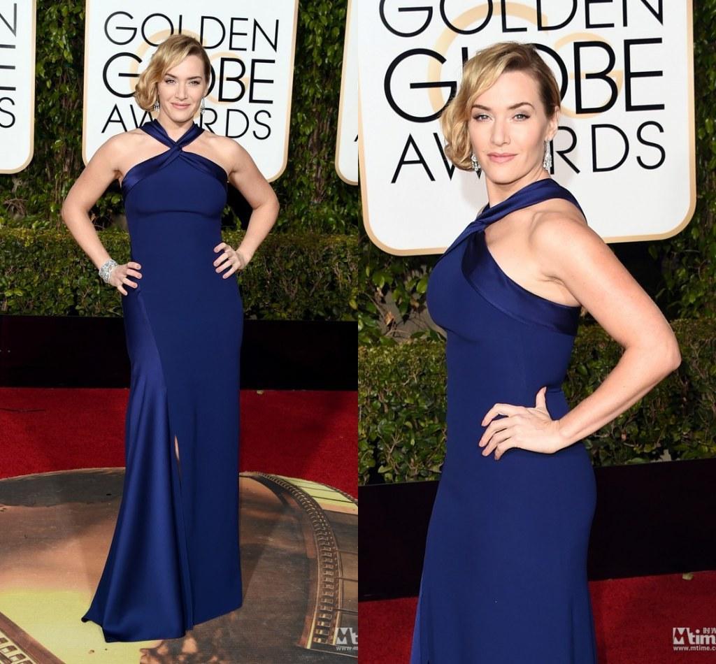 2016 Kate Winslet Robes de tapis rouges 73rd Golden Globe Awards Celebrity Robes Celebrity 2016 Col à tête haute Solid Soirée Soirée Robes de bal