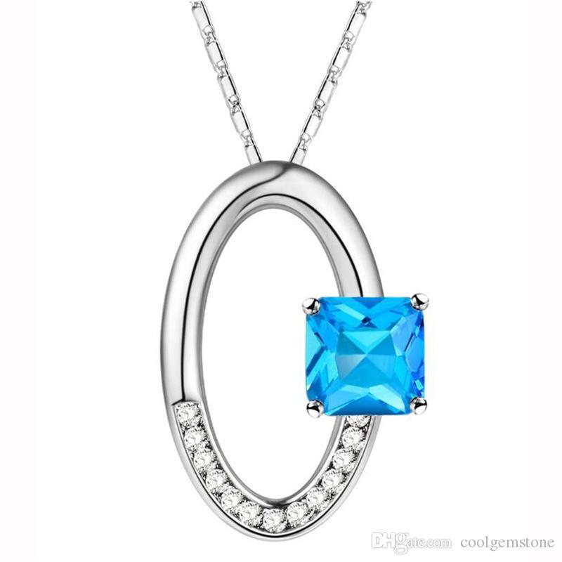 5pcs / lot Topacio azul Cristal 925 Collares de plata Colgantes Envío gratis Genuina piedra preciosa roja CP0274