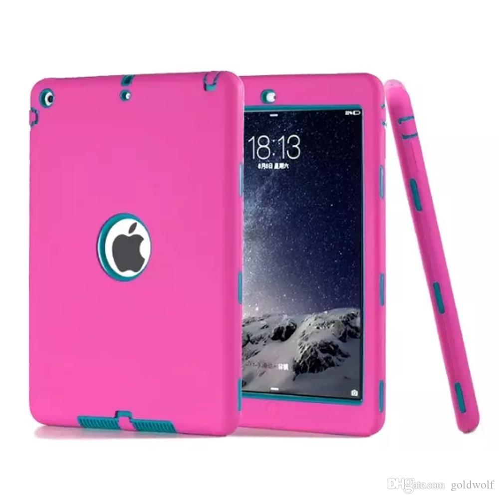 for ipad pro 9.7 2 3 4 5 6 air 2017 mini Defender shockproof Robot Case military Extreme Heavy Duty silicon cover