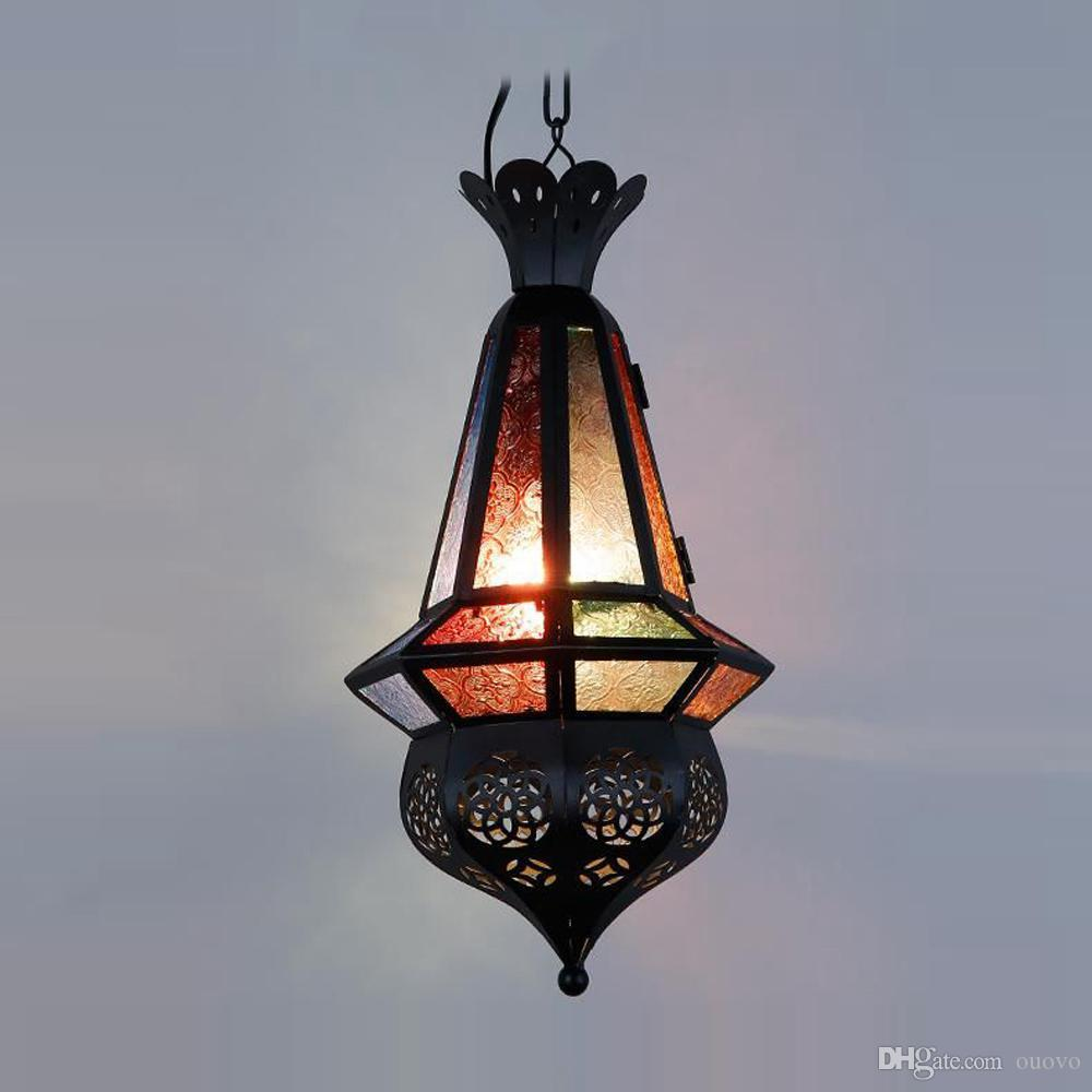 Luce moderna del pendente di vetro del ferro del Marocco Trasporto libero Camera da letto Galleria di corridoio Lampada a sospensione Luce del pendente dell'hotel del metallo di stile mediterraneo