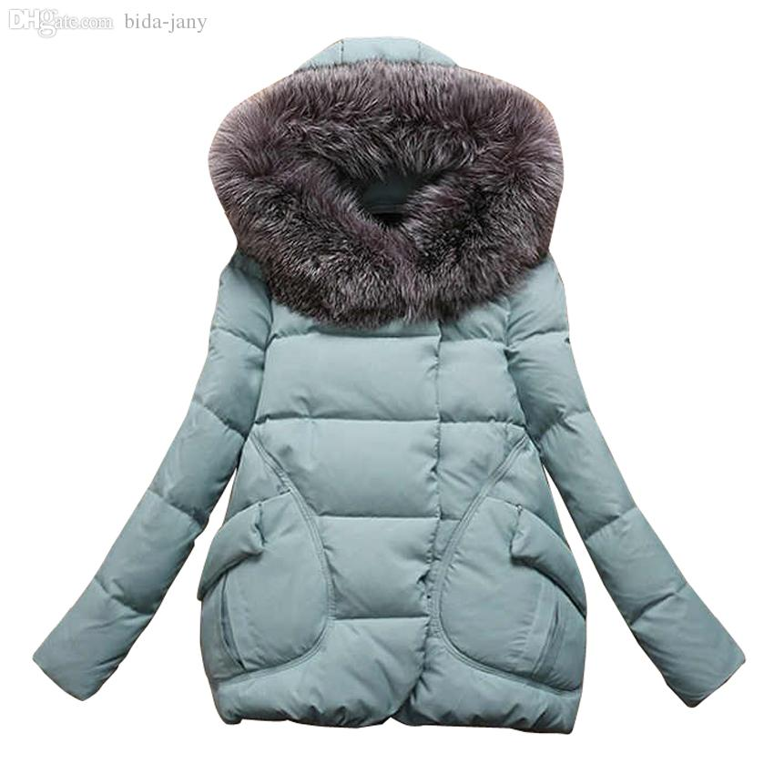 Wholesale-Women's Winter Jacket Women 2015Thick Warm Jackets And Coats A Word Parkas Fur Collar With Hood Coat Female Plus Size XXL