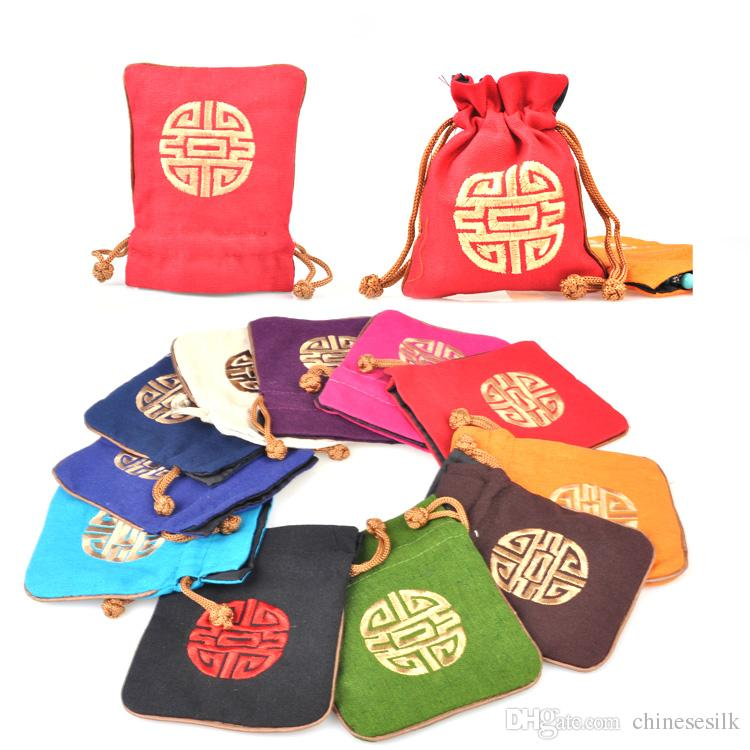 Chinese style Embroidery Lucky Small Cloth Bag Jewelry Gift Packaging Cotton Linen Drawstring Storage Pouch Spice Sachet Candy Favor Bags