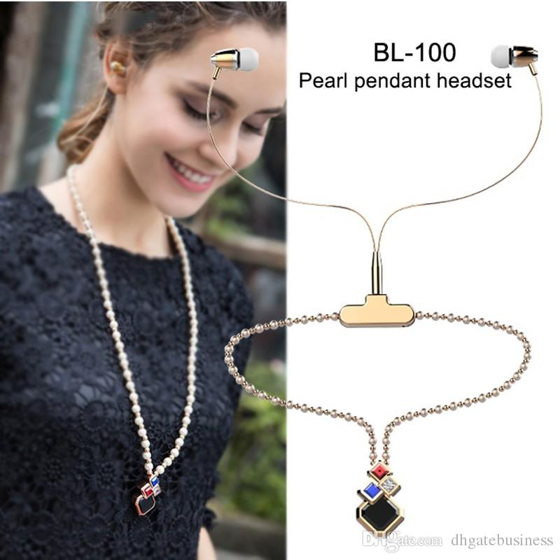 new 3D stereo BL-100 Lady necklace-like Bluetooth Wireless Headset Earphone Neckset Neckband Headphones For iPhone 7 samsung s8 smartphone
