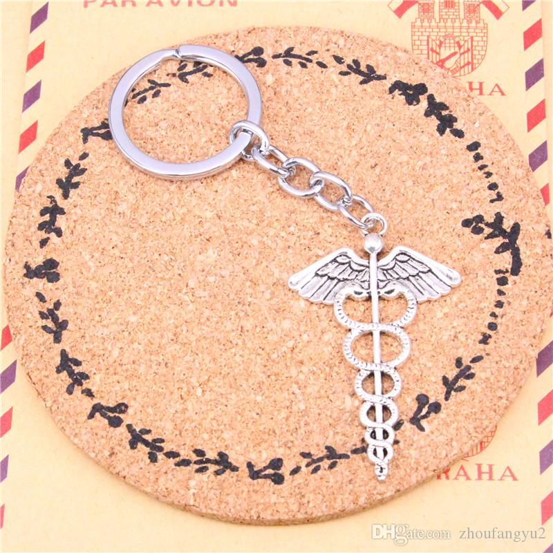 Keychain caduceus medicine symbol Pendants DIY Men Jewelry Car Key Chain Ring Holder Souvenir For Gift