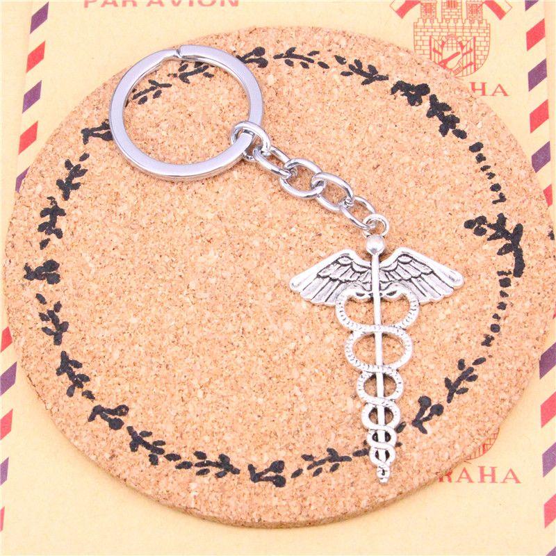 Keychain caduceus medicine symbol Pendants DIY Men Jewelry Car Key Chain Ring Holder Souvenir For Gift