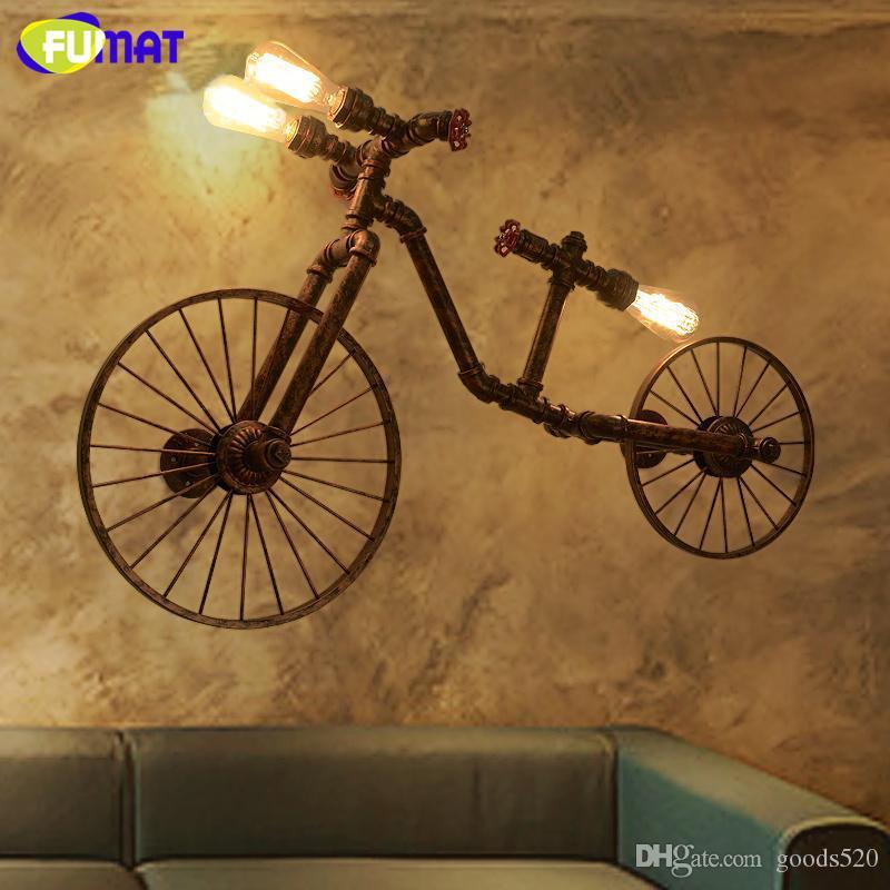FUMAT Bicycle Wall Lamps Nordic Vintage Metal Water Pipe Wall Light Loft Industrial Retro Restaurant Bar Lighting Sconces