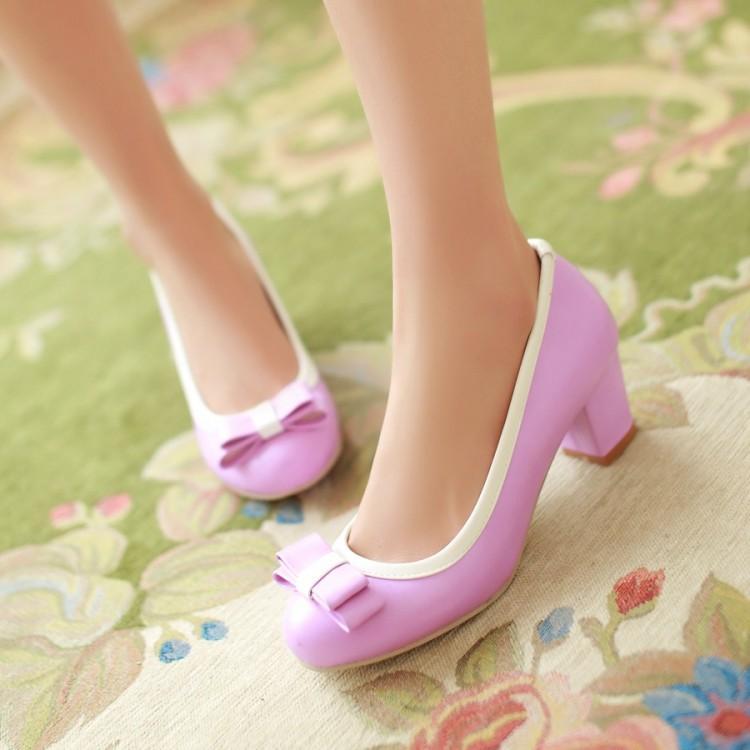 Nella primavera del 2016 nuova dolce principessa coreana una bocca superficiale tondo scarpe con i tacchi alti scarpe con il colore spesso