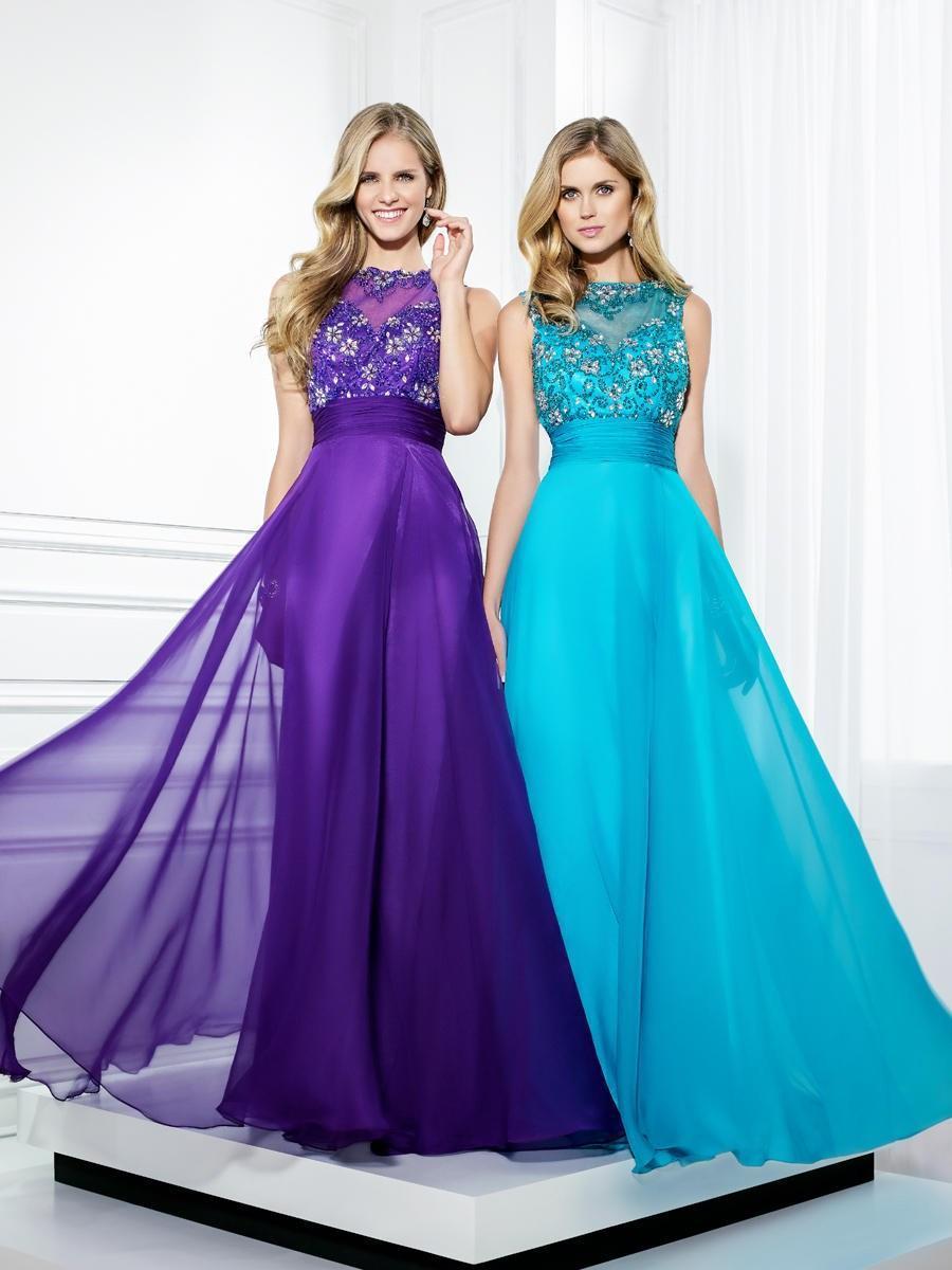 2015 A-Line Purple Sky Blue High Neck Evening Dresses Long Chiffon ...