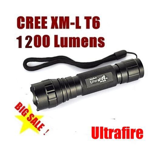 UltraFire CREE XM-L T6 WF-501B 1200 Lumen Zaklamp Flitslicht Waterdichte LED-toorts 5-Mode voor Outdoor Adventure Camping