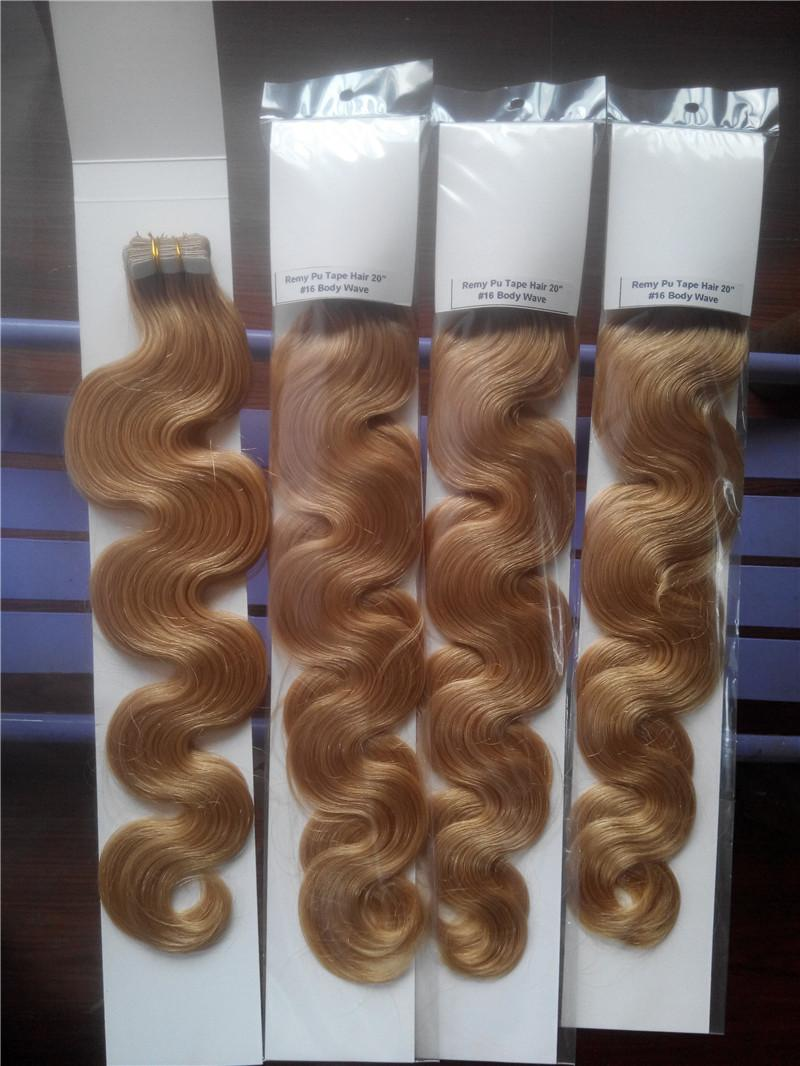 """LUMMY Skin Weft PU Tape In Human Hair 18""""-24"""" 100g 40pcs Indian Remy Human Hair Extensions"""