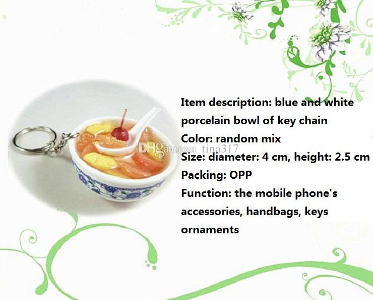 ultra realistic sweet soup and bowl key ring key chain hanging bowl keychain