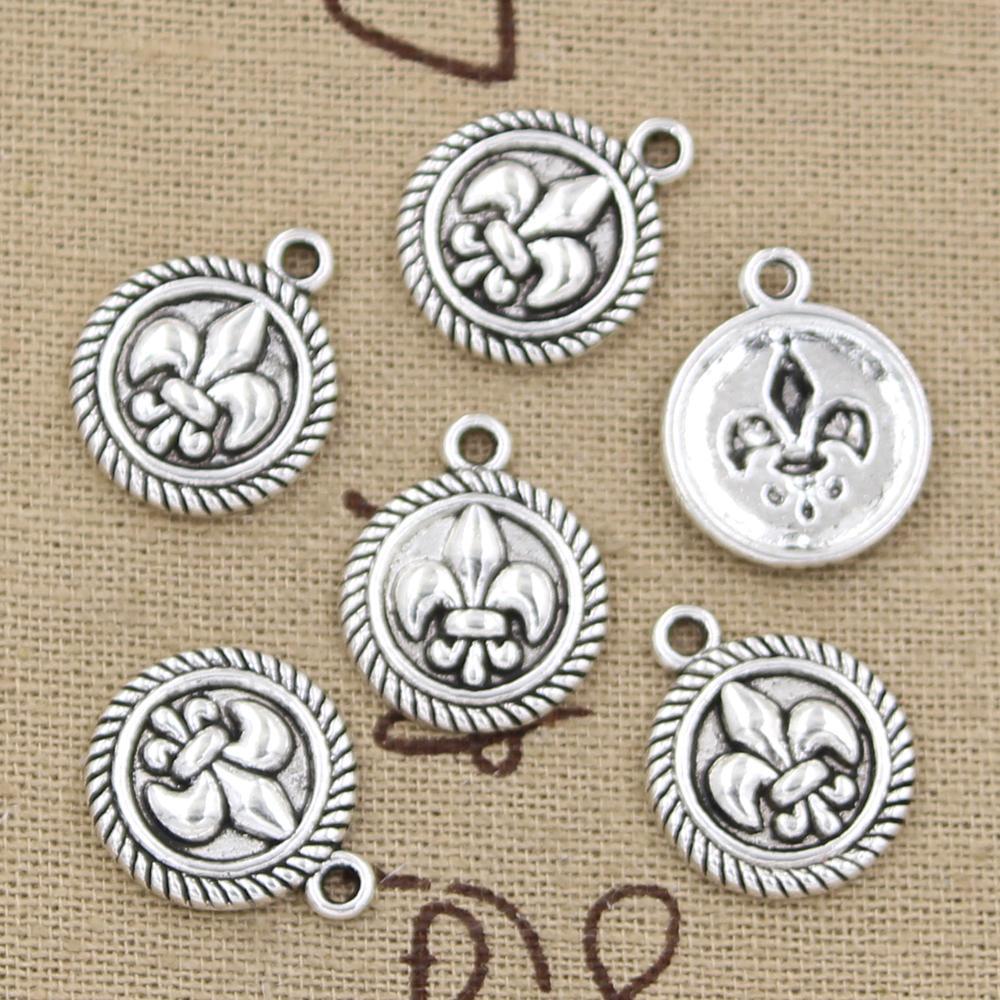 100 шт. Подвески диск Флер-де-Лис 15 мм Античная, цинковый сплав кулон подходит, Vintage Тибетское Серебро, DIY для браслета ожерелье