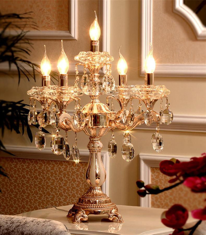 Modern gold Led candle holders reading light large Wedding led table lamp Restaurant Clear glass candlestick Bar dinining room table light
