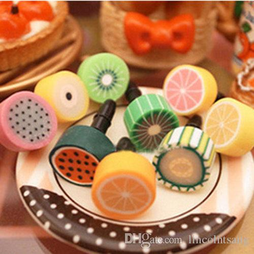 Wholesale 500pcs/lot Cute Fruit anti dust plug for iphone and 3.5mm earphone cap for mobile phone free shipping