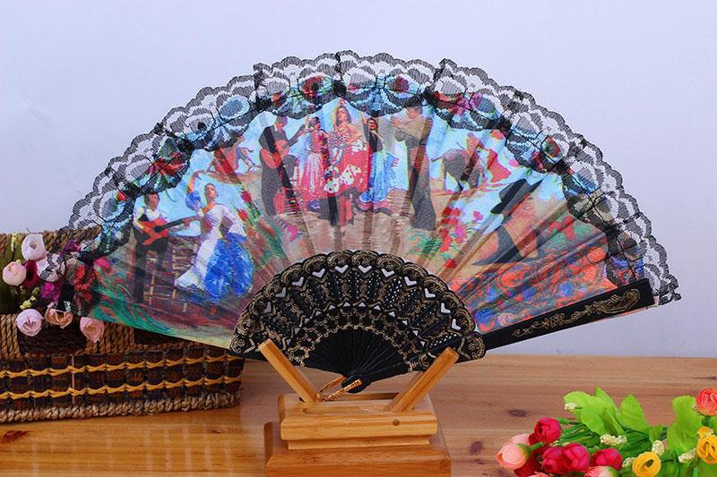 """Stof Spaanse stijl karakter landschap fan patroon dansende partij vouwen hand fan maat 9 """"Pack van 60 stuks willekeurige kleur"""
