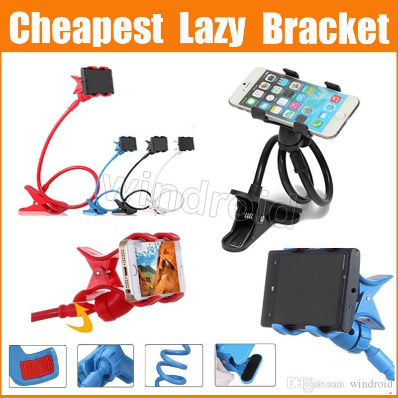 Cheapest Cell Phone Holders 85cm Long Arm Lazy Bracket Universal Two Clips 360 Ratating Bed Desktop Holder Stands Free Shipping by DHL 200