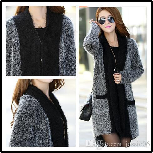 2015 Moda Odzież damska Europa Wiatry Długa Szal Moher Knit sweter Sweter Cardigan Jesień Zima Dzianiny Odzieżowiec