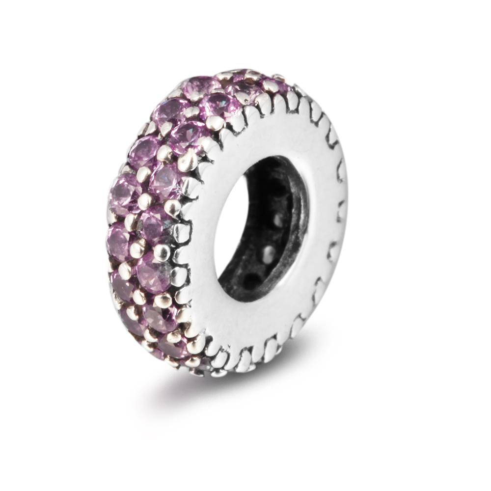 Abstract Silver Spacer with Pink CZ 100% 925 Sterling Silver Beads Fit Pandora Charms Bracelet Authentic DIY Fashion Jewelry