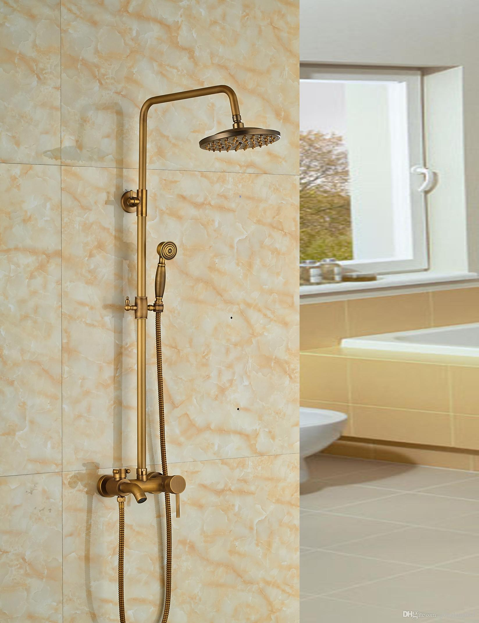 2019 Wholesale And Retail Antique Brass Tub Spout Valve 8 Round Rain Shower Faucet W Hand Held Shower Mixer Tap Wall Mounted From Gonglangno1