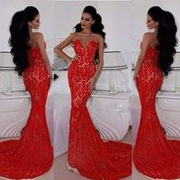 New Elegant robes de soiree V Neck Red Lace Mermaid Prom Dresses 2015 With Train Ball Party Dresses Formal Evening Gown