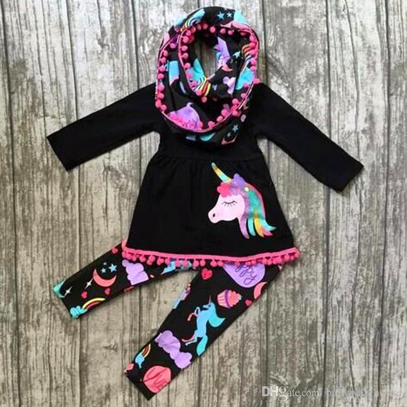 Automne boutique vêtements pour enfants vêtements de fille de bébé ensemble filles robes gland à manches longues licorne Tops arc-en-pantalon Leggings 2PCS enfants tenues