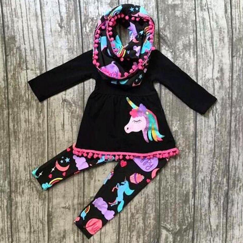 Fall boutique Kids Clothing Baby Girl Clothes Set Girls Tassel Dresses Long Sleeve Unicorn Tops Rainbow Pants Leggings 2PCS Children Outfits