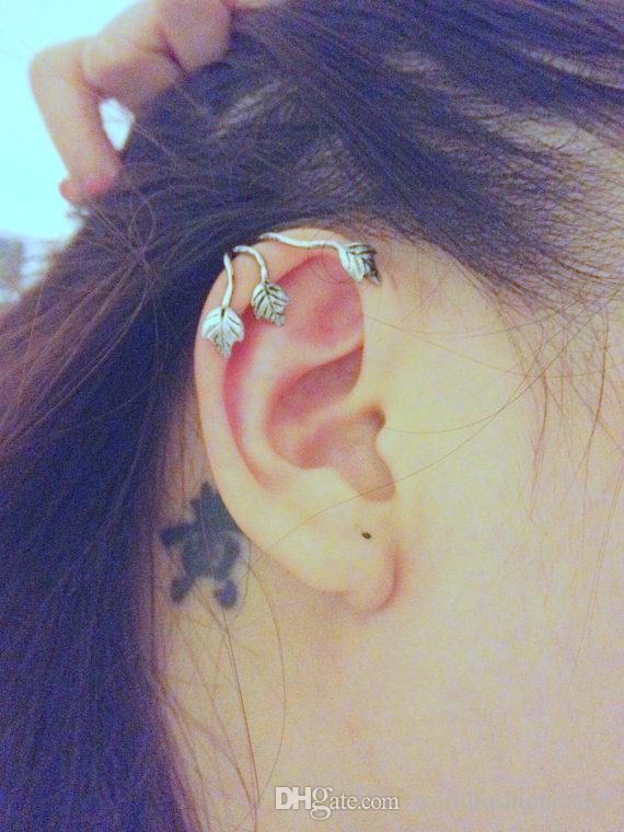 패션 귀에 커프 빈티지 합금 귀 스 터 드 잎 디자인 귀걸이 귀 귀걸이 귀 귀걸이 귀걸이 청동 실버 귀걸이 쥬얼리