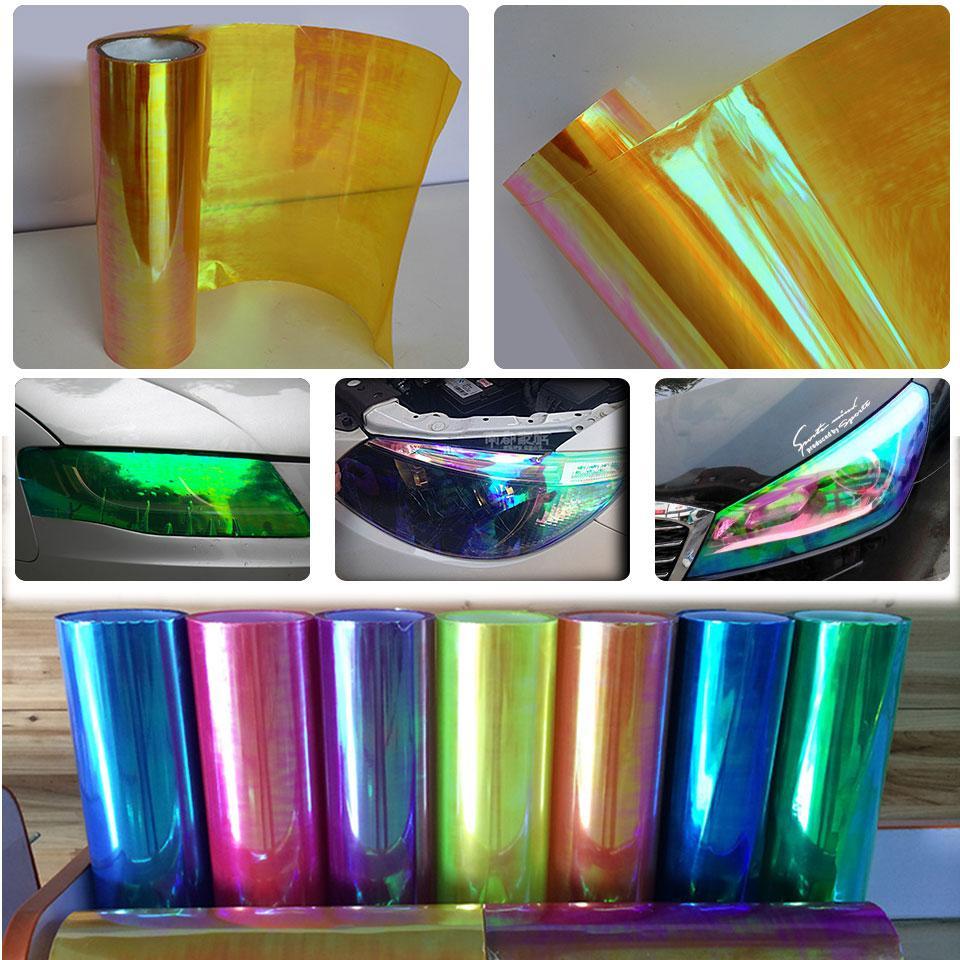 0.3x10 m (1x33ft) Chameleon Ouro Gloss Farol Taillight Nevoeiro Luz Tint Film Vinyl