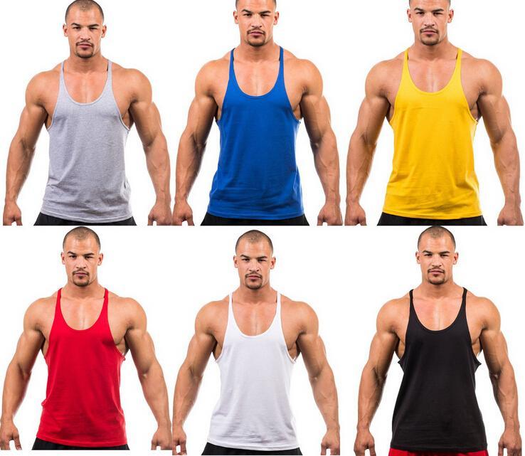 Ginásio Atacado algodão alças Bodybuilding dos homens Stringer Tops Undershirt aptidão Vest Muscle mangas Singlet Racerback Top